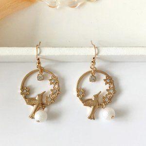3/$20 New Gold Bird Rhinestone Dangle Earrings